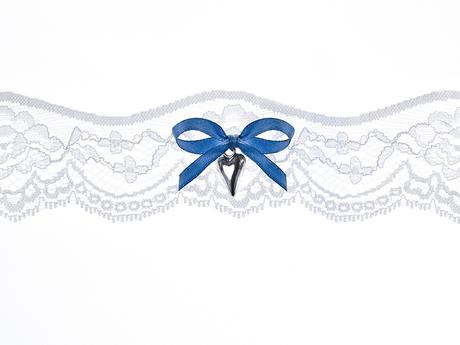 Krajkový podvazek s modrou mašličkou - M-XL, 38