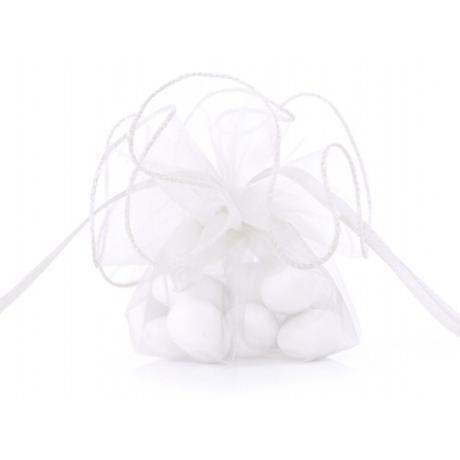 Mošnička z organzy - bílá,
