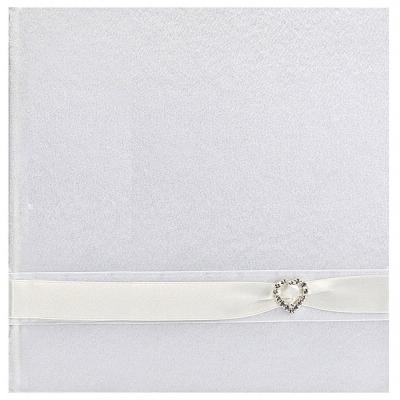 Svatební kniha se stuhou a broží - bílá,