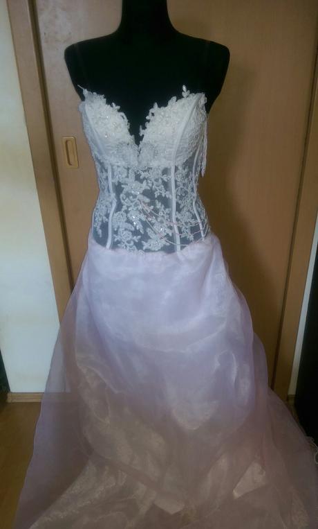 Růžovobílé svatební/společenské šaty, M, 38