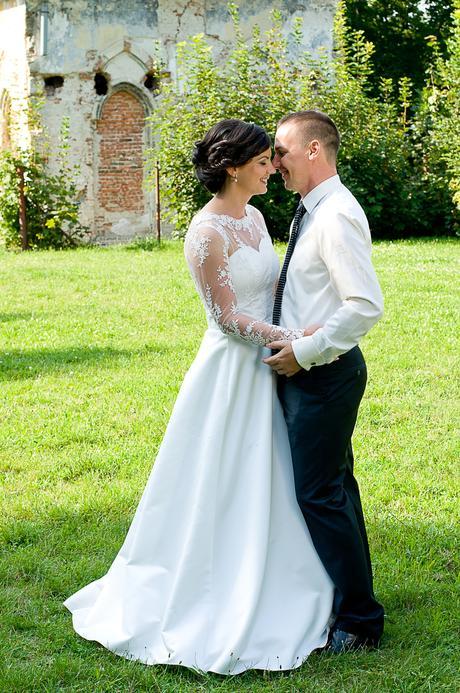 čipkované svadobné šaty s dlhým rukávom, 38