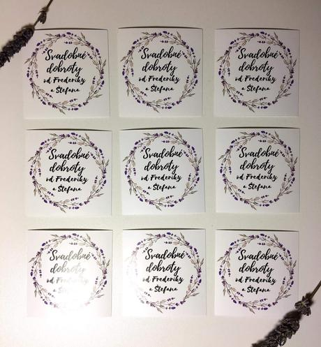 Etikety na svadobne koláče ,