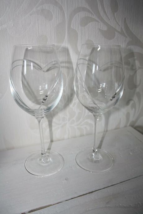 Svadobné poháre so Swarovski srdcia ,
