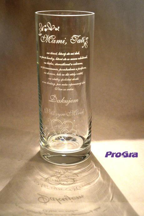 Poděkování rodičům - gravírována váza Olympia,