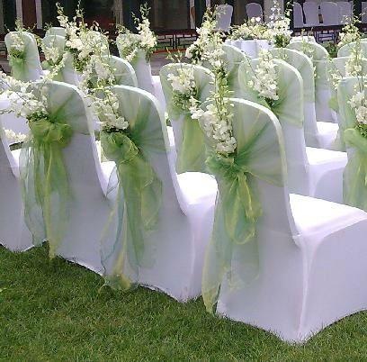 Svatební potahy na židle + mašle,