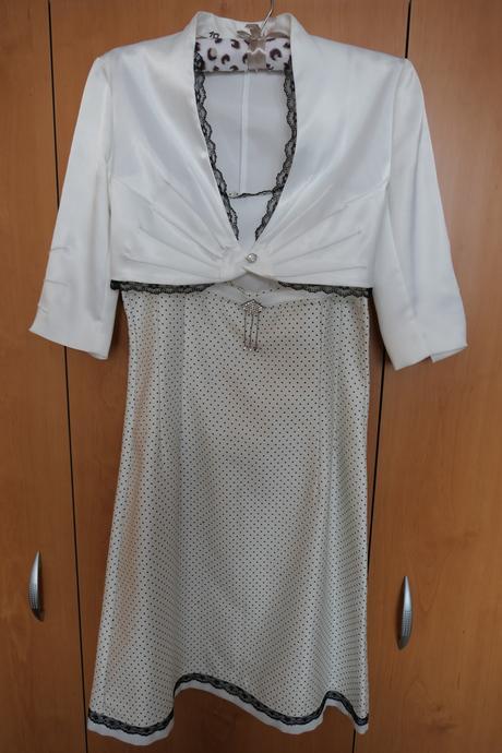 Krémové šaty s bolerkem, 38
