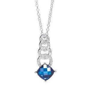 Náhrdelník s modrým kamenem postříbřený,