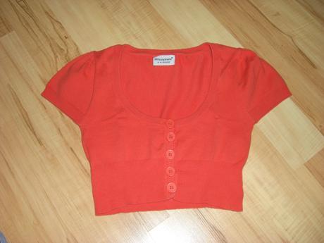 Oranžové bolerko s krátkými rukávy, 38