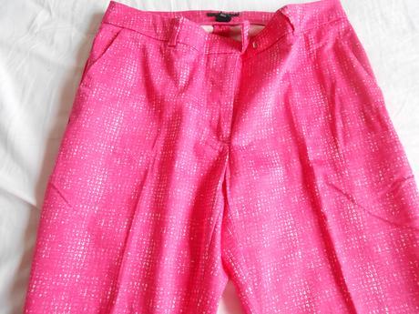 Ružové 7/8-nové striekané nohavice zn. H&M, 36