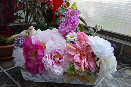 Fialová svadobná ikebana 1,