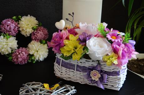 Fialová svadobná ikebana 2,
