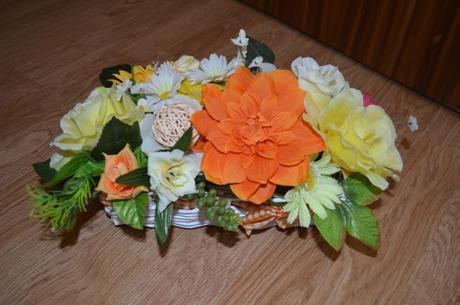 svadobná ikebana - výzdoba oranžová / žltá,