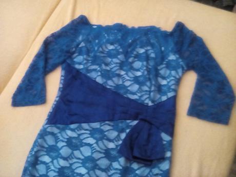Modré čipkované spoločenské šaty, XL