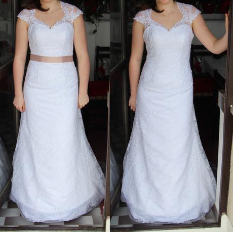 Krajkové svatební šaty, úzké s vlečkou a mašlí, 38