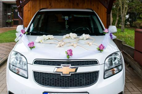 Ozdoba na auto - organza + kvety,