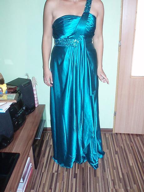 Tyrkysové spoločenské šaty na jedno ramienko, 40