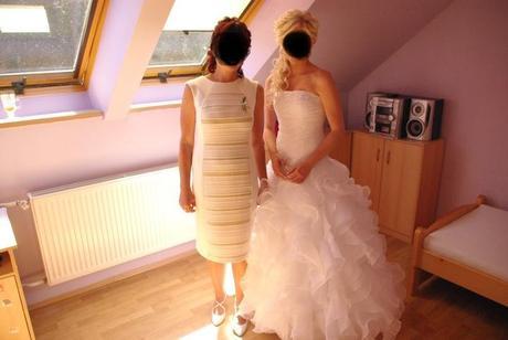 Šaty, sako a boty pro svatební matku barva šampaň, 40