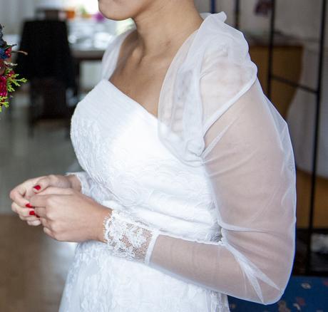 Retro-Krátke čipkované svadobné šaty Lilly, 38