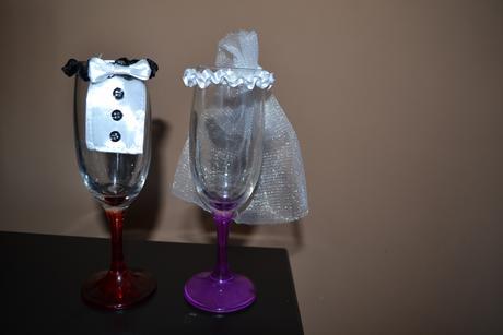 """Obleček """"nevěsta a ženich"""" na skleničky,"""