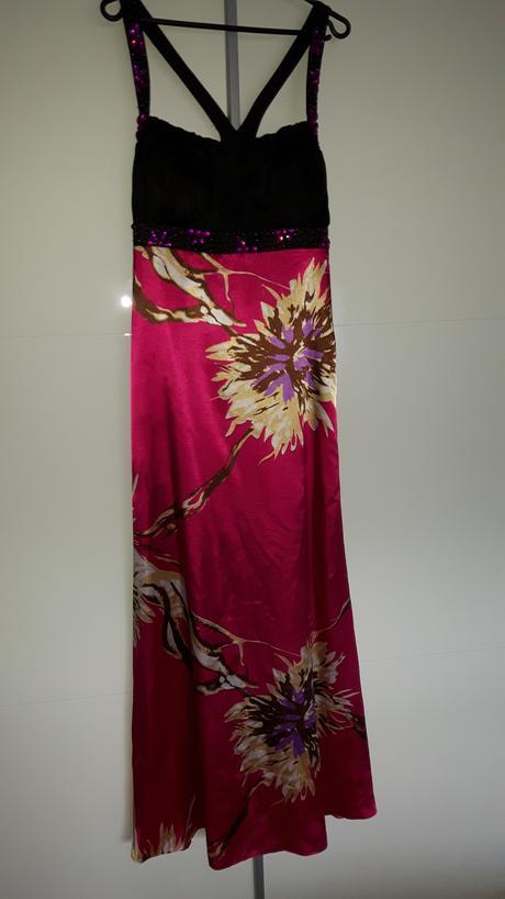Cyklamenové šaty so vzorom a kamienkami, 40