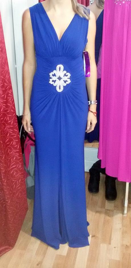 elegantné spoločenské šaty v parížske modrej farbe, 36