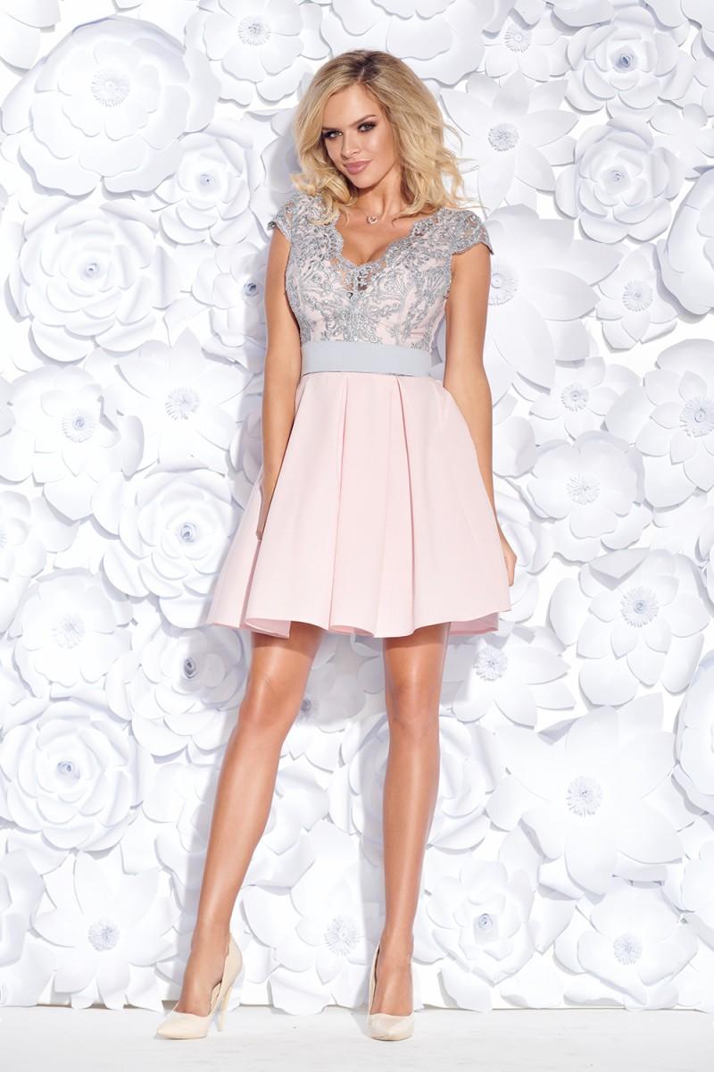 Koktejlové šaty butterfly ružovo-sivé veľ. s 6502db12b3
