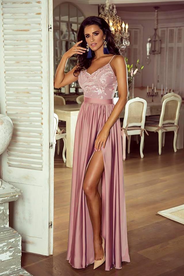Spoločenské šaty dlhé belle ružová veľ. s 701938427e