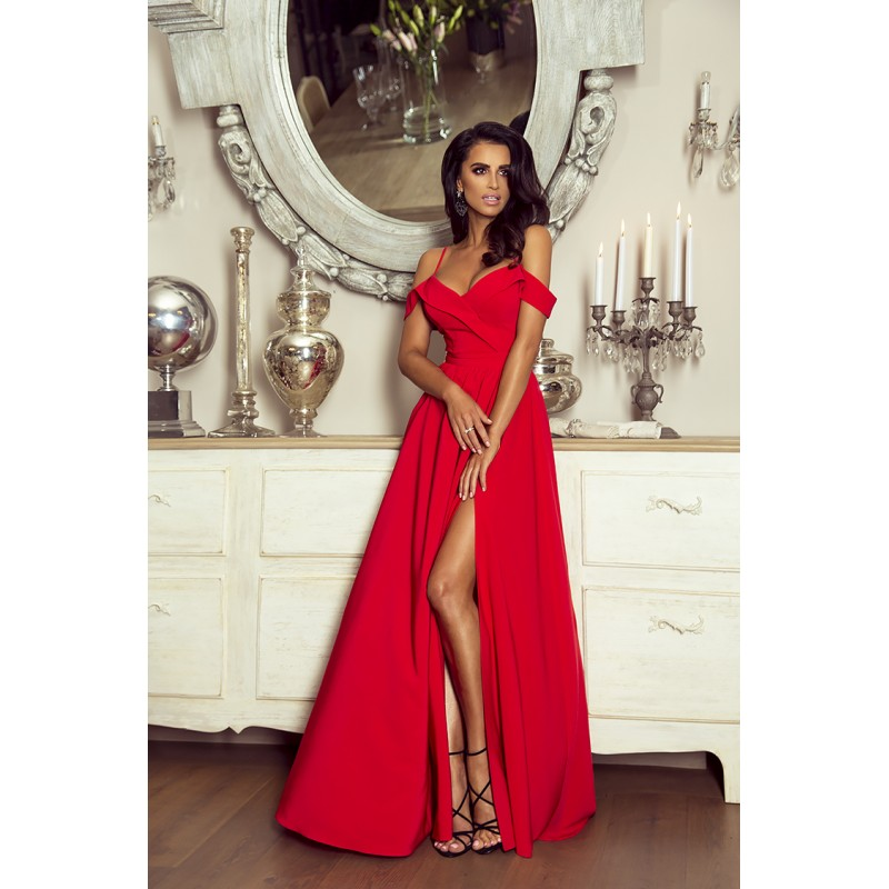 Spoločenské šaty dlhé elizabeth červené veľ. m 31e7b02ad1