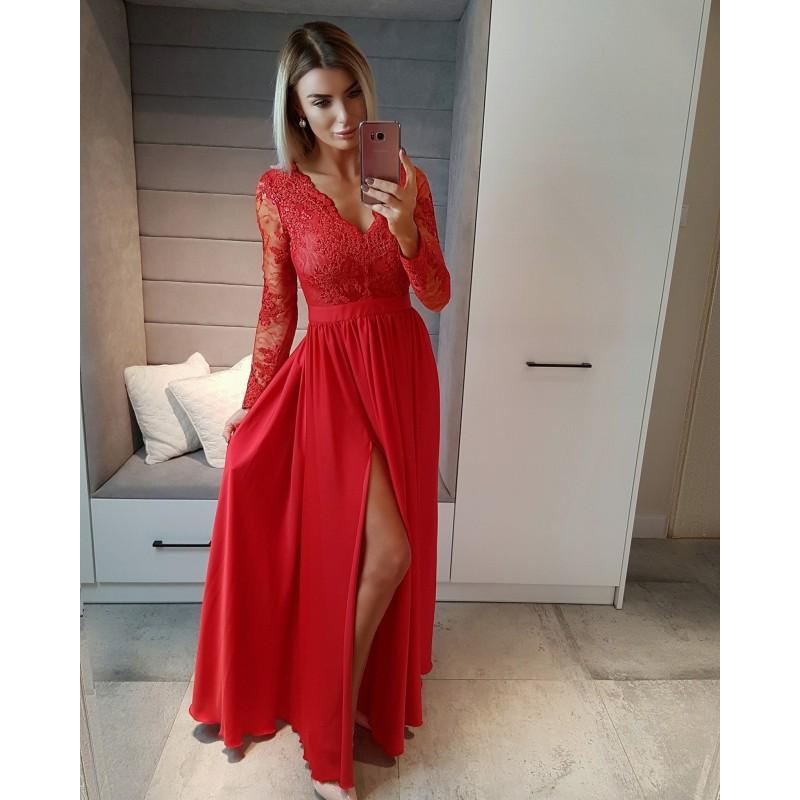 Spoločenské šaty dlhé luna červené veľ. s fec6f2f16c