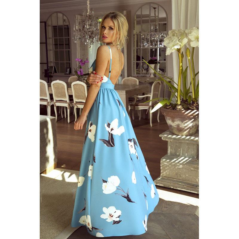 Spoločenské šaty dlhé meggie modré kvety veľ.m f19e846b78