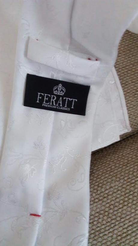 Značková kravata s výšivkou, s kapesníčkem Feratt,