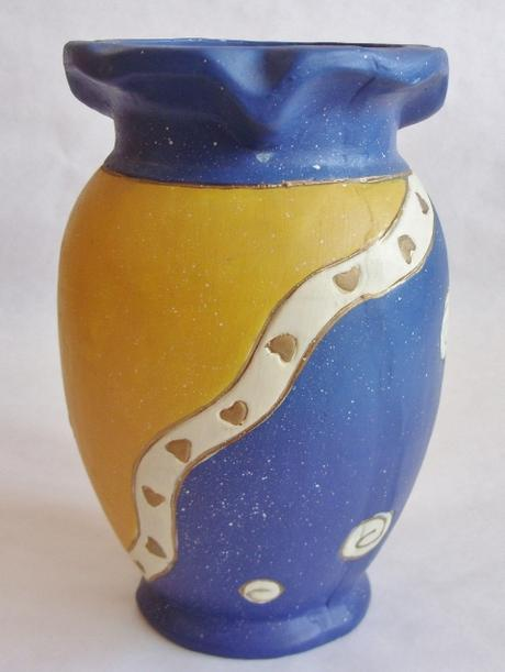Váza žlto modrá ,