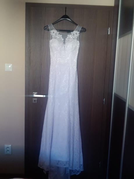 Čipkové svadobné šaty 36-38, 36