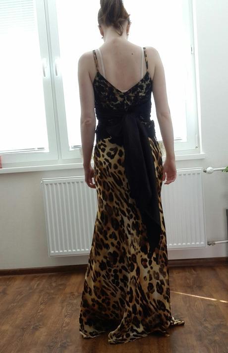 Leopardie šaty s čiernou čipkou, 38