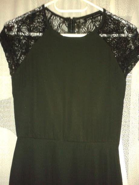 Černé společenské šaty-průhledná krajka na zádech, 36