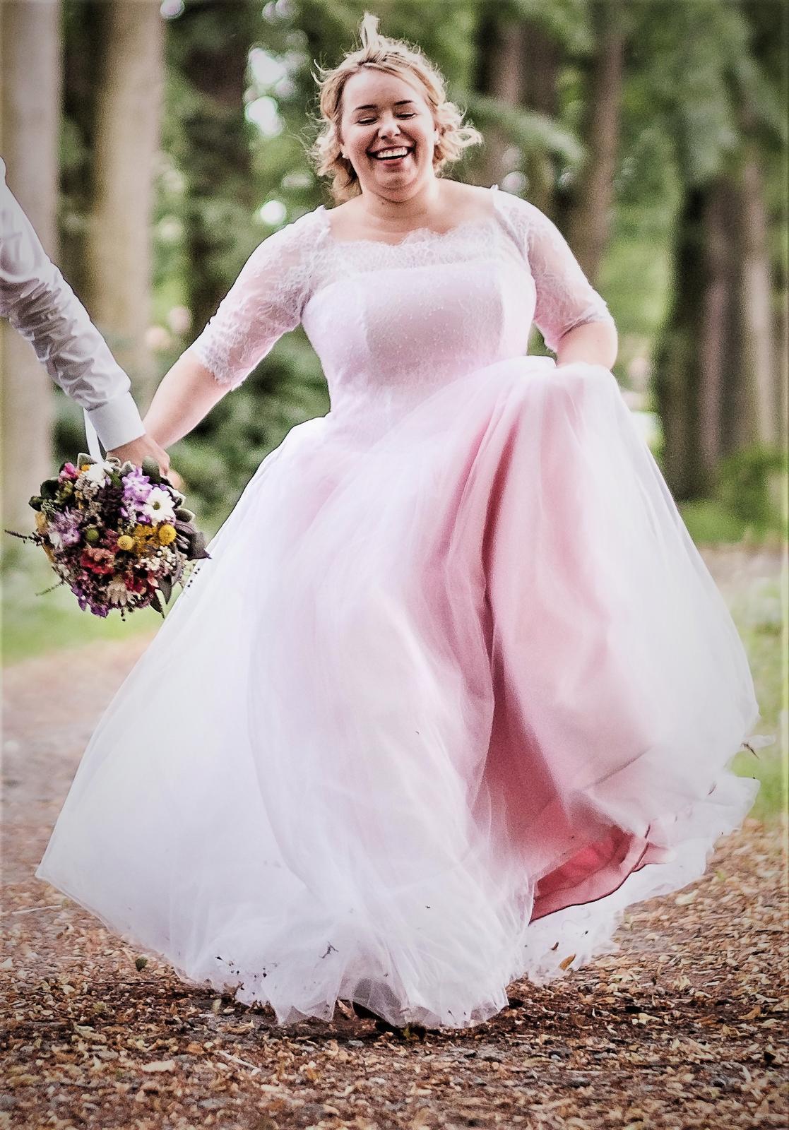 54c4e266d15 Svatební šaty růžové vel. 42-46