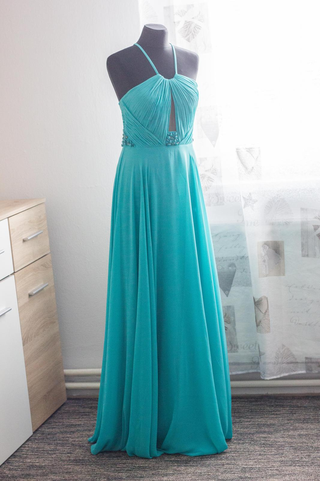 Tyrkysové spoločenské šaty 3064365824a
