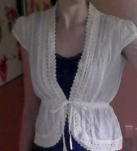biela bavlnená blúzka / bolerko č. 38, 38