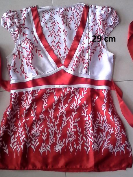 červeno-biela saténová blúzka č. 38, 38