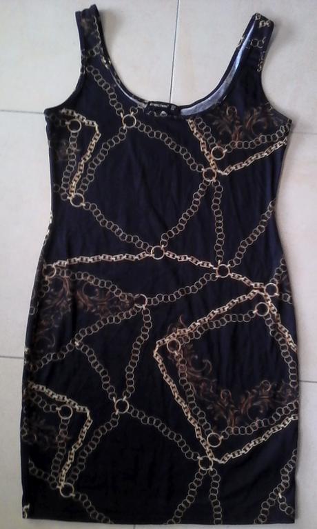 čierne elastické šaty s potlačou reťazí č.38, 38