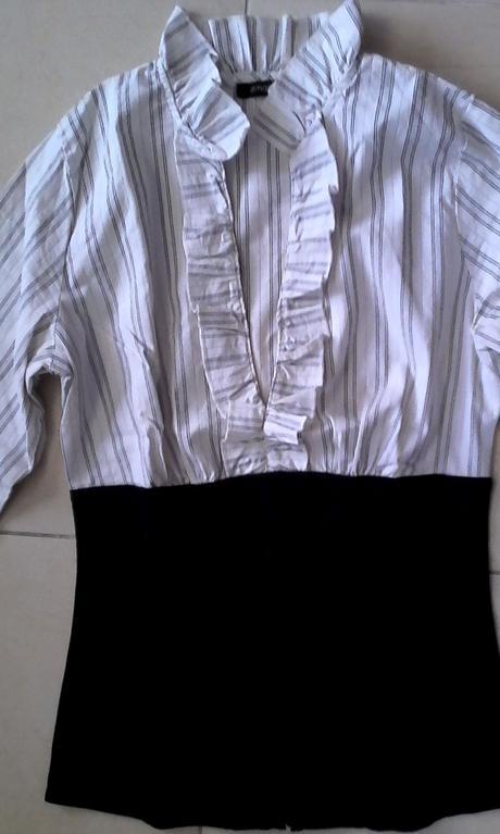 čiernobiela elegantná blúzka s korzetom č. 34-36, 34