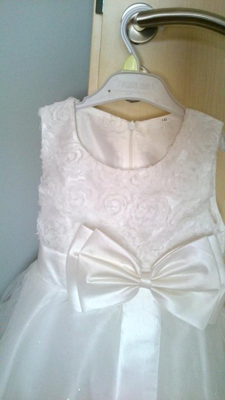 Detské elegantné biele šaty na 5-8 rokov, 122