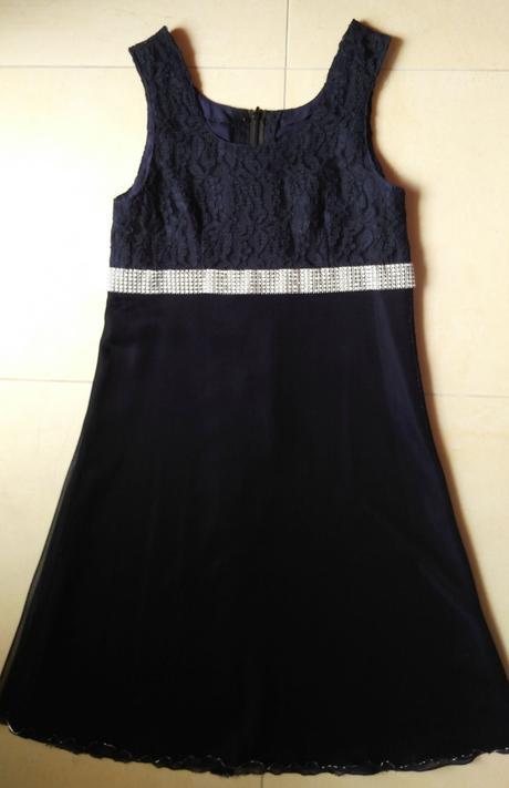 Dievčenské tmavomodre spoločenské šaty s bolerkom , 164