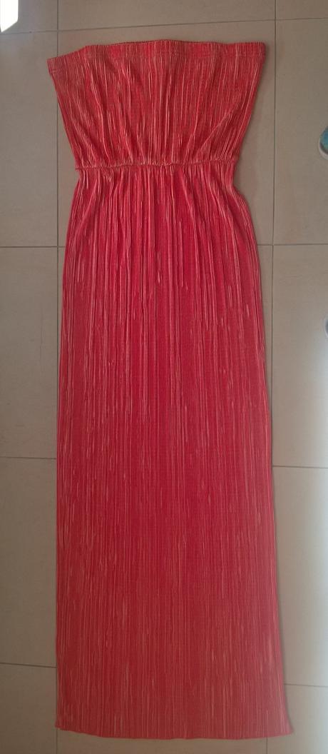 dlhé oranžové elegantné plisované šaty č. 38 - 42 , 38