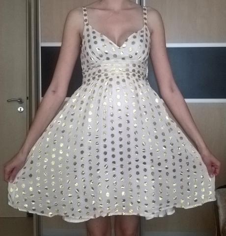 elegantné bodkované bielo-zlaté šaty č. 38, 38