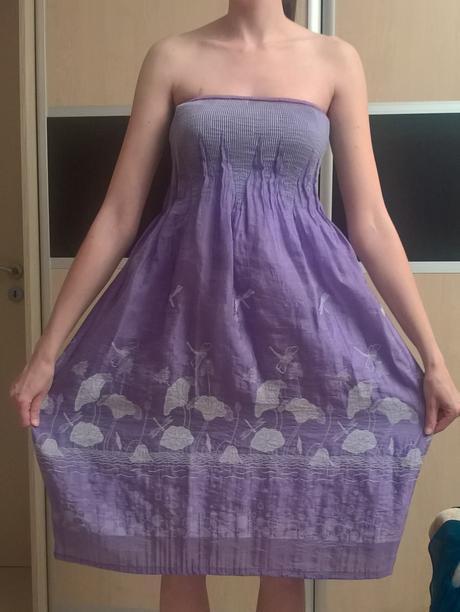 fialové šaty s bielymi vzormi č.34-44, 38