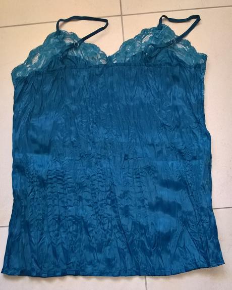 modrozelený elegantný saténový top č. 40, 40