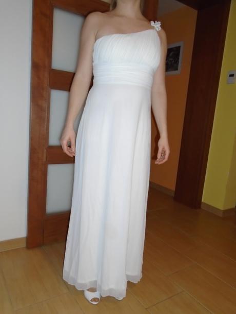 Svatební šaty jednoduché dlouhé na rameno, 38