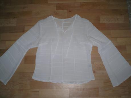 Biela priesvitná blúzka- 2x oblečená, L