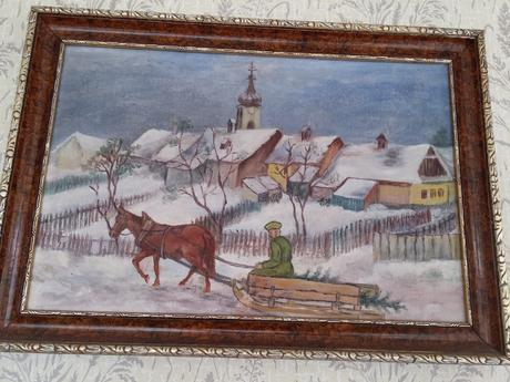 Maľovaný obraz so zimným motívom,